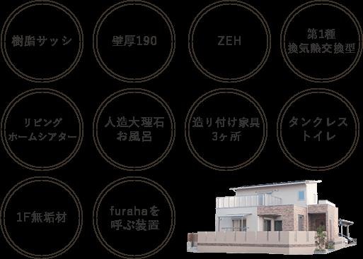 複合サッシ・壁厚190、ZEH、第1種換気熱交換型、リビングシアター、人造大理石お風呂、造り付け家具3か所、タンクレストイレ、1F無垢材、furahaを呼ぶ装置