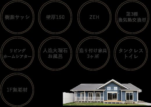 複合サッシ・壁厚150、ZEH、第3種換気熱交換型、リビングシアター、人造大理石お風呂、造り付け家具3か所、タンクレストイレ、1F無垢材
